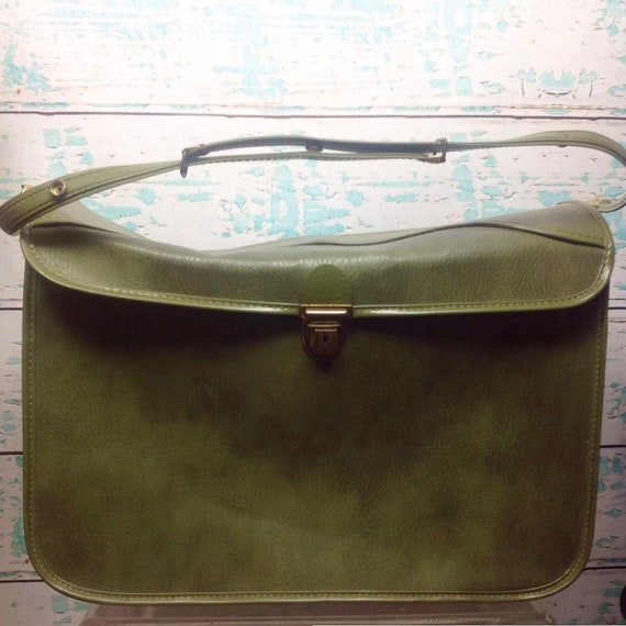 Vintage Dark Avocado Olive Green Shoe Luggage Suit