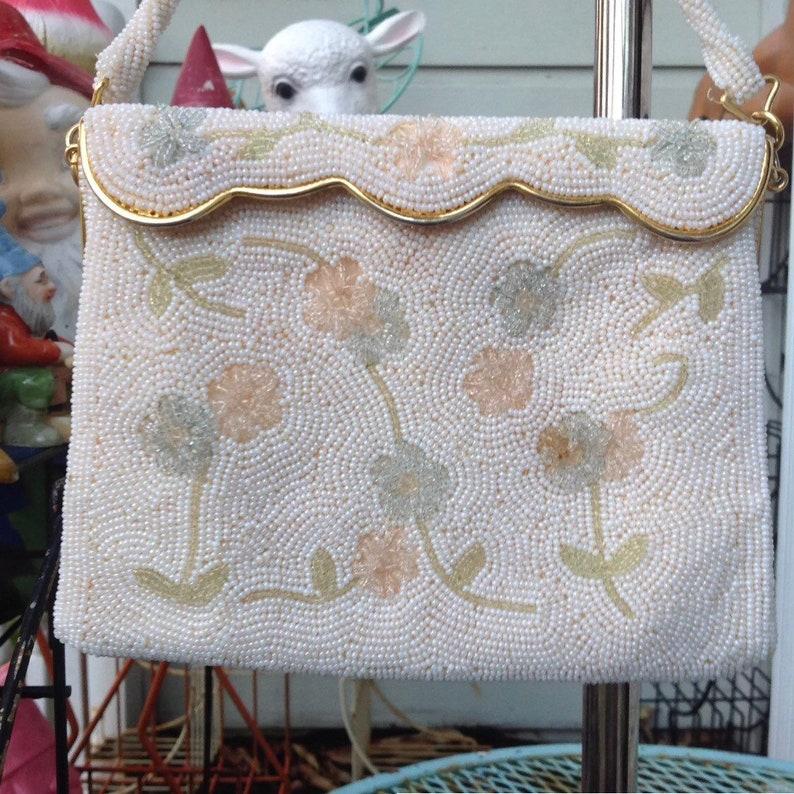 f59d300021 Vintage Cream Ivory Pink Green Blue Floral Beaded Handbag   Etsy