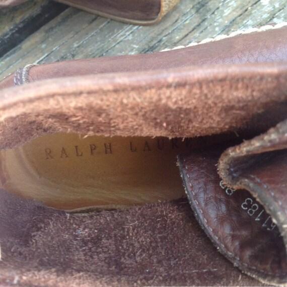 Vintage Ralph Lauren Distressed Brown Leather Moc… - image 9
