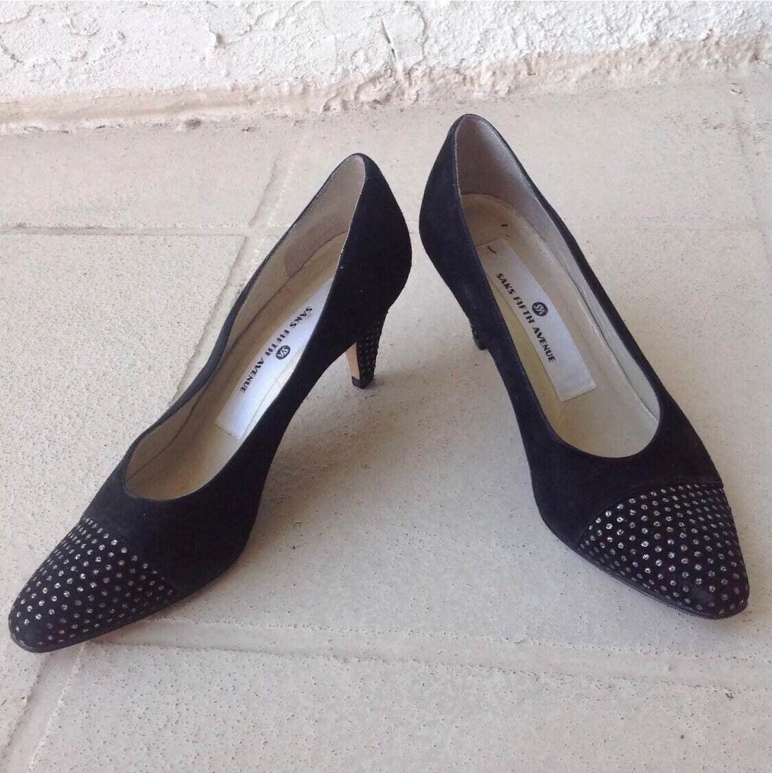 05164ff29d9 Vintage 80s Saks Fifth Avenue Black Suede Pumps Size 7.5 High Heels Glitter  Pointed Toe Shoes Vtg 1980s