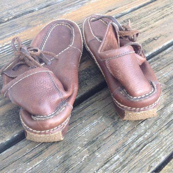 Vintage Ralph Lauren Distressed Brown Leather Moc… - image 6