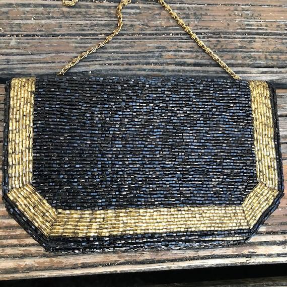 Vintage Black Gold Beaded Purse Evening Bag Clutch