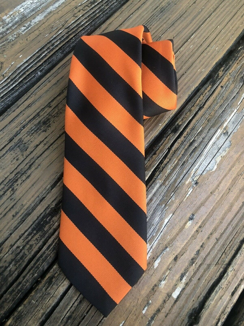 Vtg PRINCETON 1940s Tie Universty Store College Mens Necktie Orange Black Stripe Vintage 40s