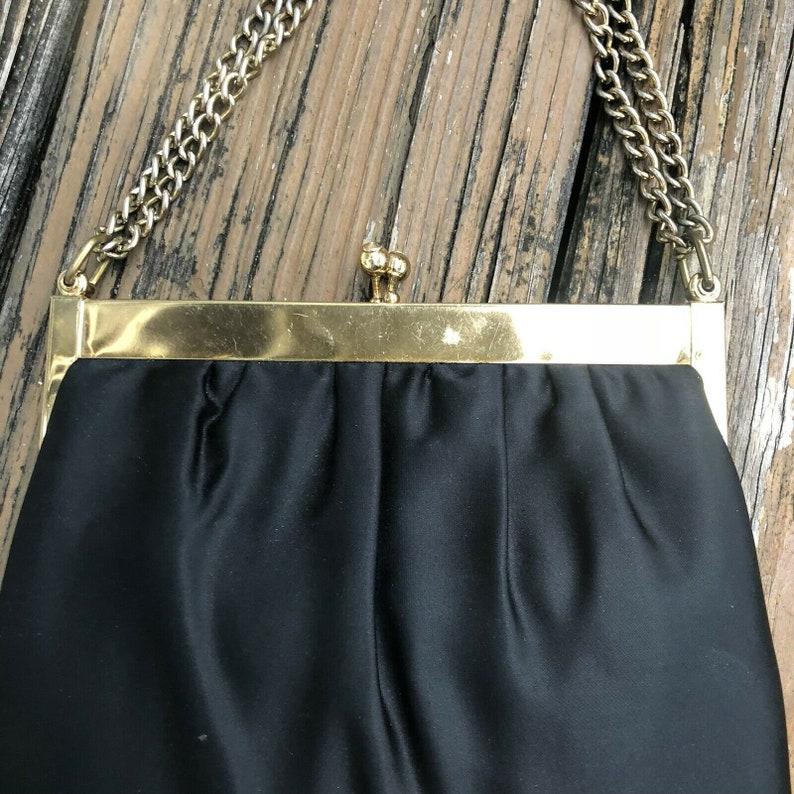 Vtg Black Satin Clutch Evening Bag Gold Jewel Frame 50s 60s /& Change Coin Purse Vintage Womens Handbag 1950s 1960s