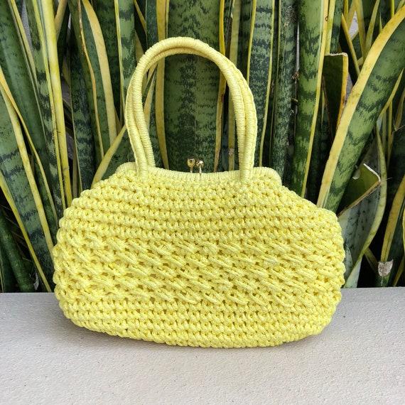 Vintage Yellow Straw Wicker Purse Handbag Bag 50s