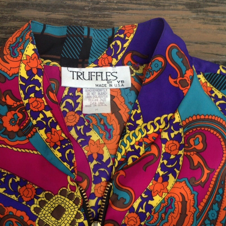 Vtg Truffles YB Floral Bomber Jacket M Medium Orange Yellow Polyester 80s 90s Womens Vintage 1980s 1990s