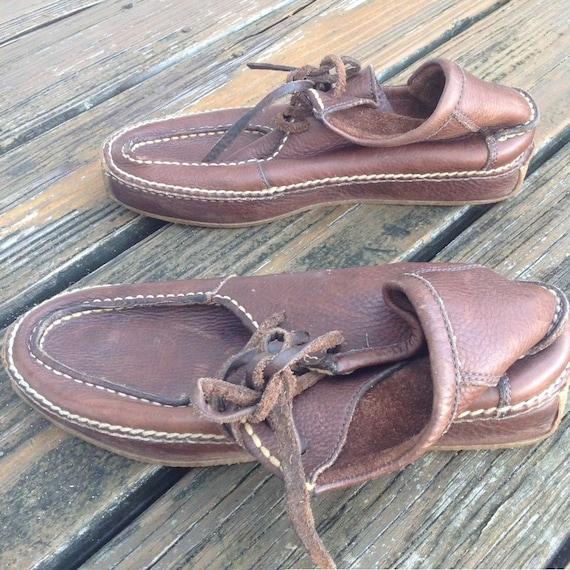 Vintage Ralph Lauren Distressed Brown Leather Moc… - image 3