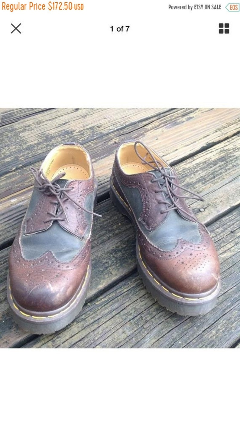 8612ee7b5c408 Sale Vintage Dr Martens Docs Brown Black 2 Tone Oxford Wingtip Shoes Size  Mens 6 Womens 7 UK 5 3989 England Vtg
