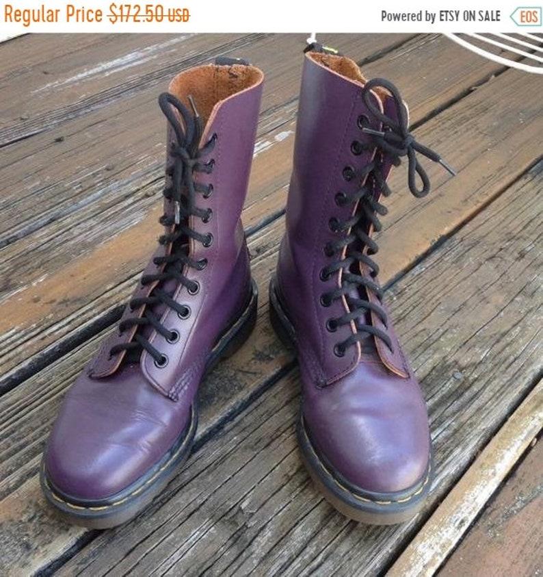 c70eacf0a2dd7 Sale Vtg Dr Martens Docs Purple Smooth Leather Combat Moto | Etsy