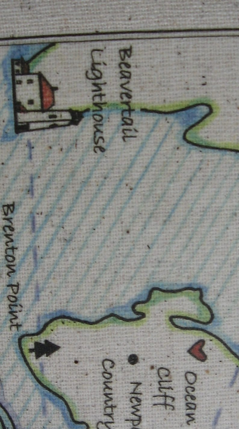 Rhode Island Maps Beach House Vintage Map Pillow Atlantic Ocean Newport Coastal Nautical New England Beach Cottage Blue Pillows