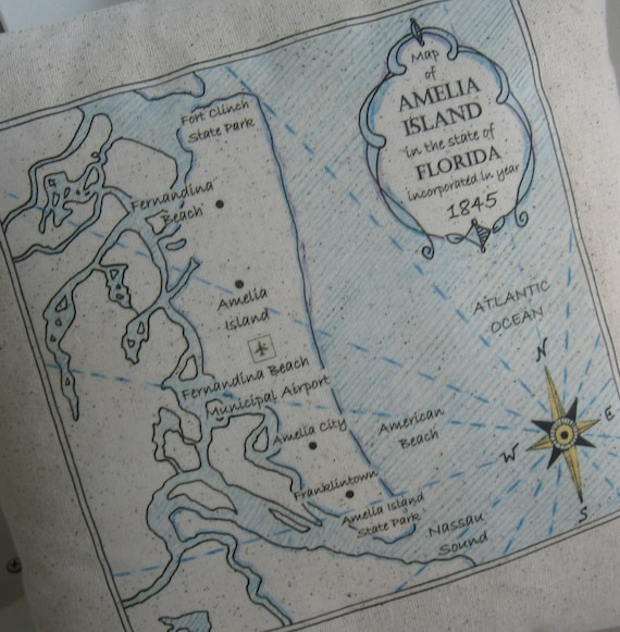 Amelia Island Vintage Map Pillow - Nautical, Shabby Chic Cottage, Beach on map of gasparilla island florida, map of merritt island florida, map of ponte vedra beach florida, map of big pine key florida, map of st. george island florida, map of pine island florida, map of orchid island florida, map of florida cities, map of anastasia island florida, map of okaloosa island florida, map of st. augustine florida, map of little torch key florida, map of st. simons island georgia coast, map of royal palm beach florida, map of dog island florida, map of captiva island florida, map of cayo costa florida, map of hutchinson island florida, map of anna maria island florida, large map of florida,