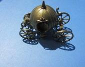 "Cinderella Pumpkin Coach Carriage Brass Figurine Vintage Italy 1960s 3.25"""