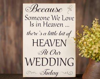 Wedding In Heaven Sign -  Wedding In Heaven Wood Sign - Wedding Memorial Sign - Wedding Memorial - Wedding Wood Sign - Wedding Decor
