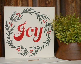 Joy Wood Sign - Joy Sign - Wreath Decor - Wreath Sign - Christmas Decor - Joy Wreath Sign - Christmas Saying - Holiday Decor - Holiday Sign