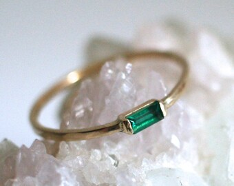 emerald baguette ring, 14k gold