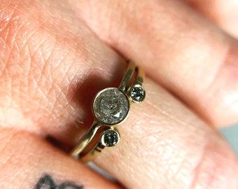 salt and pepper diamond cuff ring, open wedding band