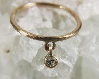 Diamond charm ring in 14k gold