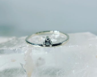 Salt and pepper diamond ring in sterling silver
