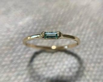 mint tourmaline baguette ring in 14k gold