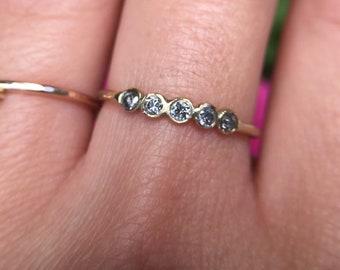 diamond eternity ring, bezel pave salt and pepper diamond wedding band, 14k rose white yellow gold, grey black