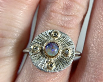 opal and diamond sunburst ring