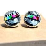 Tv testing signal Post Earrings Fun retro Jewelery, from MADEbyMADA