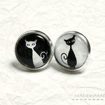 Black & white Cat Post Earrings Fun Jewelery,  from MADEbyMADA