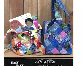 Midi Bag Paper Sewing Pattern kit - includes special grid interfacing, Scrap buster
