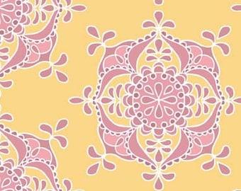 17 x 40 Remnant LAMINATED cotton fabric - Priscilla Medallion, Food Safe Fabric, BPA free