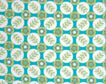 33 x 56 Remnant LAMINATED cotton fabric - Floradots turquoise blue, BPA free
