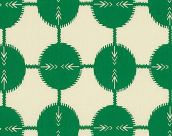19 x 54 Remnant LAMINATED cotton fabric - Field Study green, BPA free