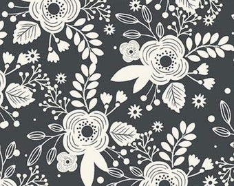 21 x 40 Remnant LAMINATED cotton fabric - My Heritage Floral Charcoal Gray, Food Safe, BPA free