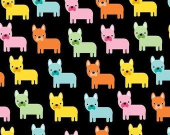 11 x 56 Remnant LAMINATED cotton fabric - Small Dog Black, Food Safe, BPA free