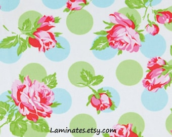 20 x 20 LAMINATED cotton fabric (similar to oilcloth) Falling Roses blue - Sugar Hill - BPA free - Approved for children - washable laminate