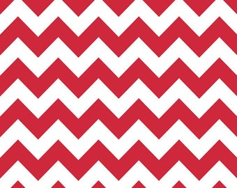 19 x 40 Remnant LAMINATED cotton fabric - Red and White Chevron, Food Safe, BPA free