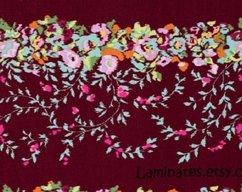 20 X 20 Remnant LAMINATED cotton fabric - Victoriana Burgundy Red, BPA free, CPSIA compliant