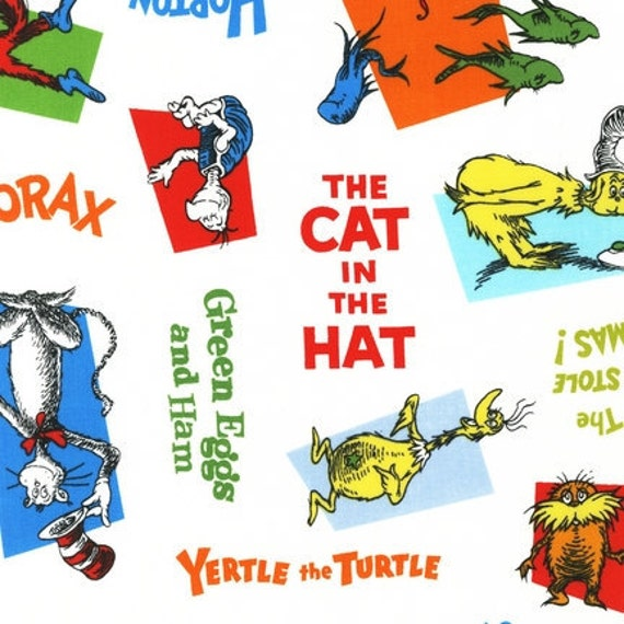 Wide Laminated Cotton Fabric By The 1 2 Yard Cat Hat Seuss