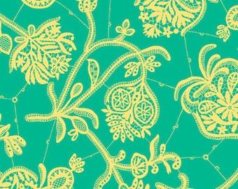 17 x 54 Remnant LAMINATED cotton fabric - Lark Souvenir Green, BPA free, Food Safe