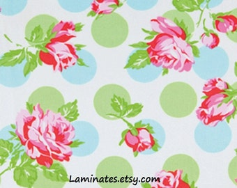 18 X 20 LAMINATED cotton fabric (similar to oilcloth) Falling Roses Blue by Sugar Hill - BPA free - Approved for children - washable