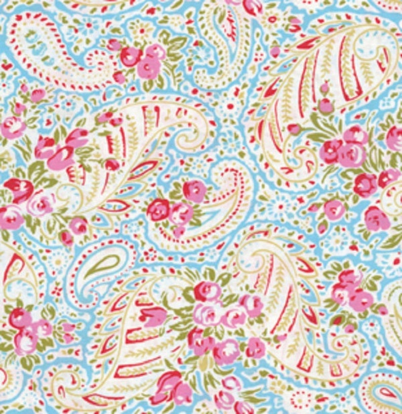 Wide LAMINATED cotton fabric Paisley Blue sold continuous by image 0