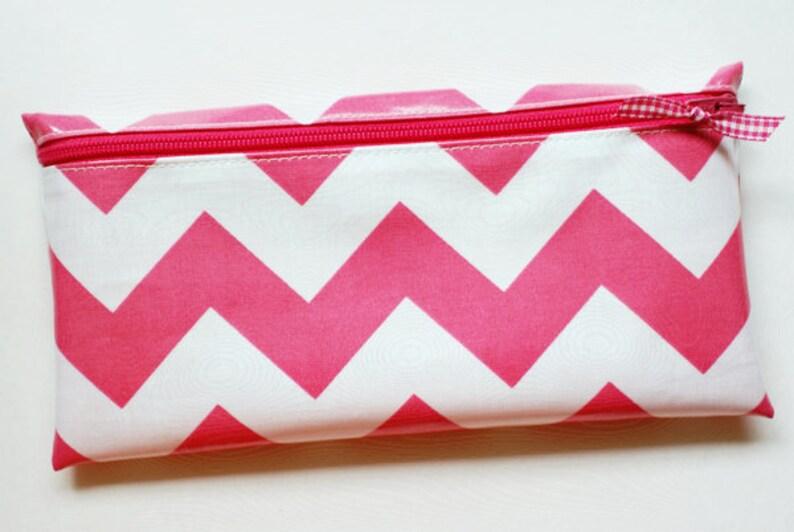 Laminated cotton fabric Pink chevron stripe (aka oilcloth)