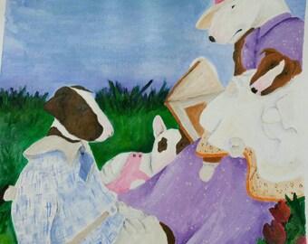 "Bull Terrier Art Print-From My Original ""Story Time"""