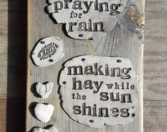 Praying For Rain Rustic Wood Wall Art Assemblage with Clay and Heart Rocks by Jodene Shaw