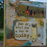 Just Do What You Can Do Today wildflower heart rock vintage mixed media collage by Jodene Shaw