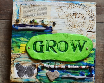 GROW mixed media collage art by Jodene Shaw assemblage butterfly wings heart rock nature inspirational decor