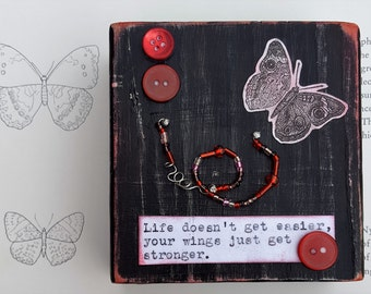 Butterfly Wings, Butterfly Quote, Vintage Butterfly Art, Vintage Typewriter Quote, Mixed Media Assemblage by Jodene Shaw