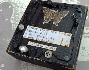 Butterfly Wings, Butterfly Art, Vintage Butterfly, Butterfly quote, Butterfly mixed media by Jodene Shaw