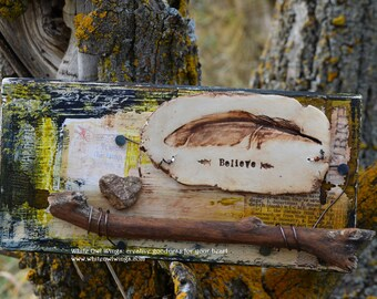 Feathers, Feather decor, Believe mixed media assemblage, Heart Rock, by Jodene Shaw