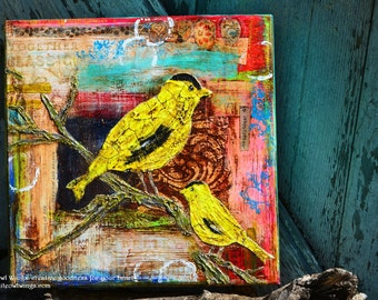Goldfinches. Mixed media collage and crackle painting on wood