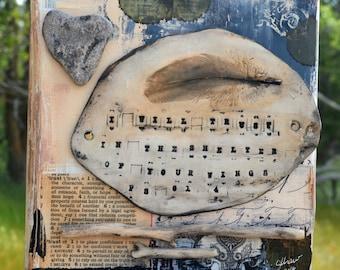 Feathers Wall Art, Bible Verse Wall Art, Trust, Clay Feather, Heart Rock, Nature Wall Art, Mixed Media Art by Jodene Shaw
